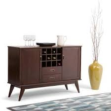 simpli home carlton tobacco brown buffet with wine storage 3axccrl