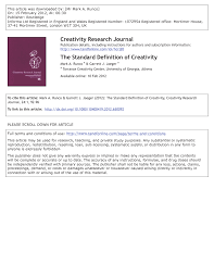 the standard definition of creativity pdf download available