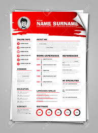 Resume Vector Minimalist Cv On Paper Sheet With Curl Corner Resume Template