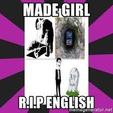 Rip English Meme - made girl r i p english rip dictionary meme generator