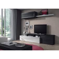 Meuble Tv Longueur Maison Et Mobilier D Intérieur Nexus Ensemble Salon Contemporain Mélaminé Blanc Brillant Et Gris