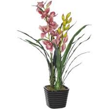 Cymbidium Orchid House Of Silk Flowers Faux Fuchsia Cymbidium Orchid Flower In Vase