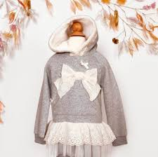 mae li rose lace bow hoodie in gray now in stock