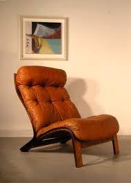 Orange Leather Chair Retro Vintage Danish Brahmin Swivel Base Leather Armchair Lounge