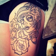 sugar skull with roses upper thigh tattoos photo 1 2017 real