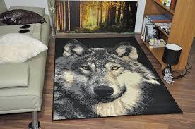 amazon com large wolf face wildlife safari animal print rug