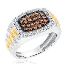 two diamond ring men s two tone chagne and diamond ring 1ctw item 19428176