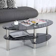 Glass Side Table Amazon Com Virrea Glass Coffee Table Shelf Chrome Base Living