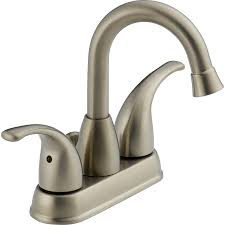 Lowes Bathroom Faucets Brushed Nickel by Shop Peerless Transitional Brushed Nickel 2 Handle 4 In Centerset