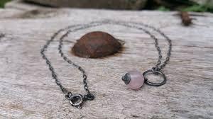 sterling silver quartz necklace images Oxidized sterling silver rose quartz necklace white amber studio jpg