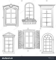 window set windows different architectural style stock vector