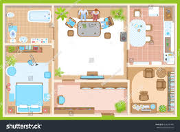 vector illustration apartment floor plan top stock vector