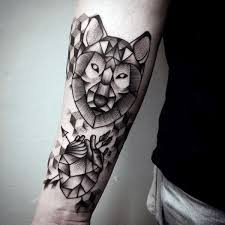 Forearm Wolf - 90 geometric wolf designs for manly ink ideas