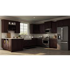 home depot all wood kitchen cabinets shaker assembled 24x34 5x24 in base kitchen cabinet with bearing drawer glides in java