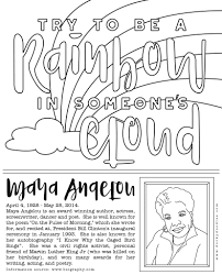 black history month coloring page maya angelou u2013 dorky doodles