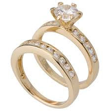 wedding ring gold yellow gold plated engagement and wedding ring set
