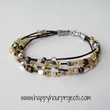 bracelet bead leather images Bead leather bracelet happy hour projects jpg