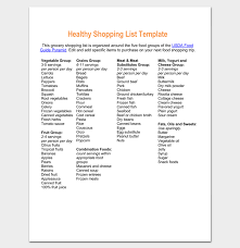 food shopping list template 15 grocery lists for word excel pdf