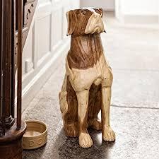 guard dog statue surin solid monkey pod wood carved brutus guard dog statue