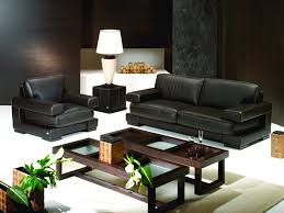 Small Leather Sofa Living Room Black Leather Sofa Double Glass Table Brown Wooden