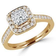 gold cushion cut engagement rings princess cut diamond cushion halo engagement ring setting with