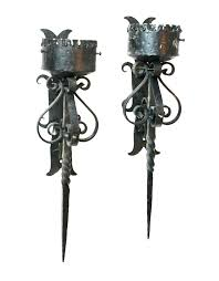 Antique Iron Sconces Sconce Rustic Wrought Iron Glass Shade Antique Wall Sconces