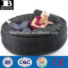high strength flocking pvc inflatable round air bed folding smart