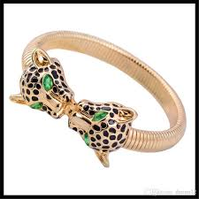 double charm bracelet images Exaggerated leopard double head charm bracelets bangle statement jpg