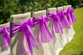 white wedding chairs with purple bows outdoors stock photo