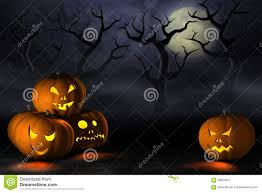 halloween pumpkins in a spooky forest at night stock illustration