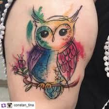 watercolor owl tattoo by cata tattoo owls pinterest