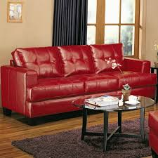 coaster furniture 501831 samuel contemporary leather sofa in red