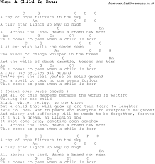 christmas carol song lyrics with chords for when a child is born