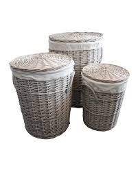 white laundry hampers small willow wicker corner laundry basket with lid in white