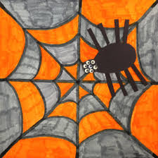 1st grade colorful spiderweb with spider and 8 googly eyes art