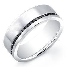 black diamond band men s single row black diamond eternity band in 18k white gold