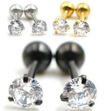surgical stainless steel earrings 2 pieces gold silver black surgical stainless steel earring stud
