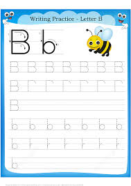 letter b is for bee handwriting practice worksheet free