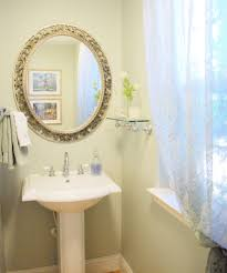 glass pedestal sink powder room traditional with bathroom mirror