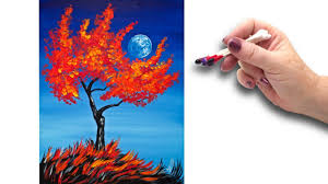 cotton swabs painting fall tree for beginners basic easy