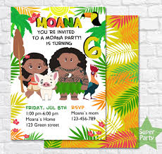 moana birthday invitation for digital by superparty on zibbet