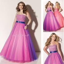 dramatic strapless tulle sequined good place to buy prom dress