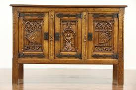sold gothic carved oak 1915 antique sideboard server tv