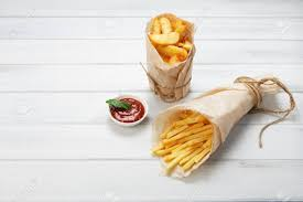 shabby chic wrapping paper potato wedges and fries wrapped in brown wrapping paper