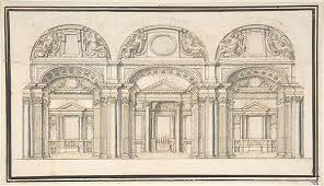 anonymous italian late 16th century wall elevation with three