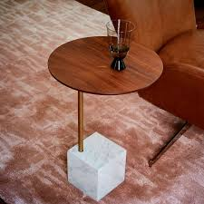 Cube Side Table Cube C Side Table Walnut White Marble West Elm