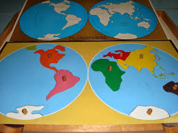 Seven Continents Map Montessori On Mars Playing With The Planisphere Or Working With