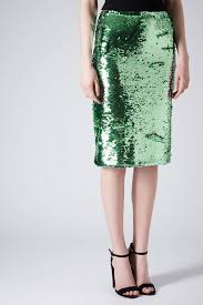 topshop mint sequin pencil skirt in green lyst