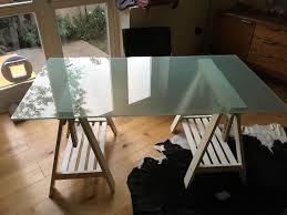 ikea glass top desk with trestle legs glasholm finnvard in