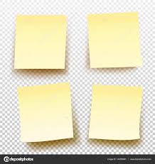 set of yellow sticky note isolated on transparent background